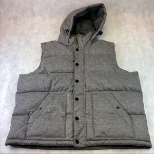 Mens GAP Puffer Vest Jacket Removable Hood 2XL XXL